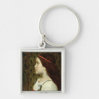 Head of a Child, 1866 Silver-Colored Square Keychain