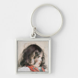 Head of a Child Silver-Colored Square Keychain