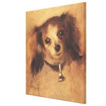 Head of a Dog by Pierre Renoir, Vintage Fine Art Canvas Print