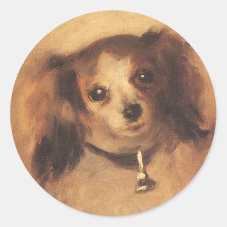 Head of a Dog by Pierre Renoir, Vintage Fine Art Classic Round Sticker