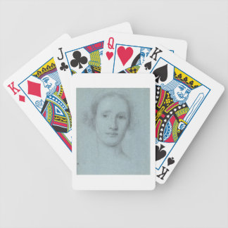 Head of a Girl (black and white chalk on blue laid Bicycle Playing Cards