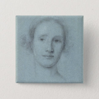 Head of a Girl (black and white chalk on blue laid Button