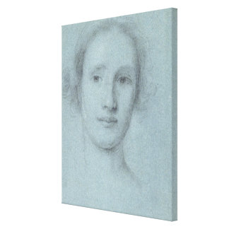 Head of a Girl (black and white chalk on blue laid Canvas Print