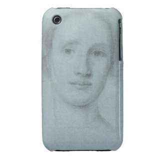 Head of a Girl (black and white chalk on blue laid iPhone 3 Cases
