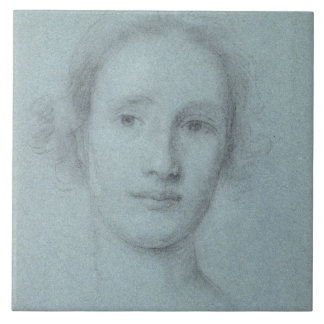 Head of a Girl (black and white chalk on blue laid Ceramic Tile