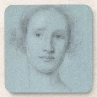 Head of a Girl (black and white chalk on blue laid Coaster