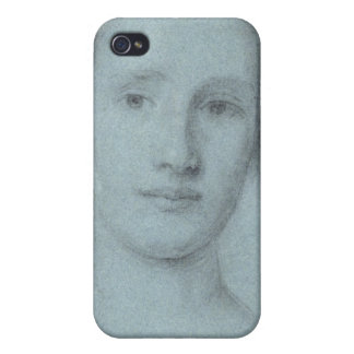 Head of a Girl (black and white chalk on blue laid iPhone 4/4S Cover