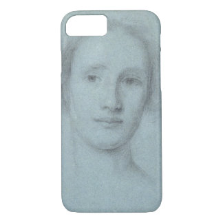 Head of a Girl (black and white chalk on blue laid iPhone 8/7 Case