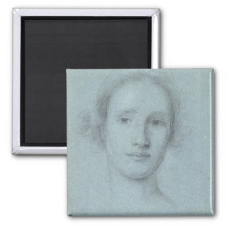 Head of a Girl (black and white chalk on blue laid Magnet