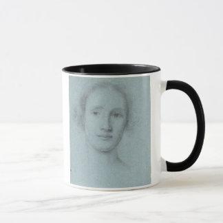 Head of a Girl (black and white chalk on blue laid Mug