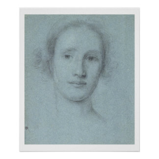 Head of a Girl (black and white chalk on blue laid Poster