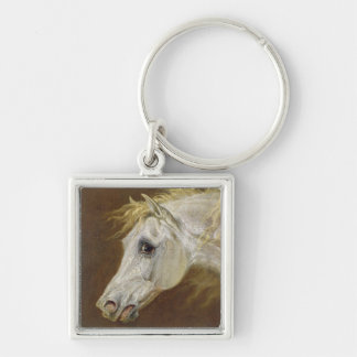 Head of a Grey Arabian Horse (oil on canvas on pan Key Chains