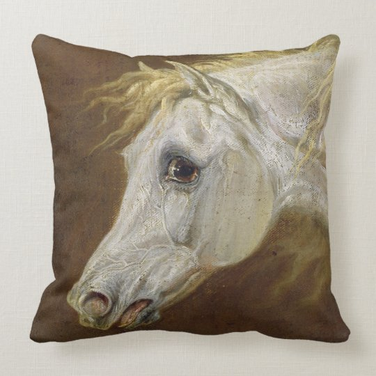 Head of a Grey Arabian Horse (oil on canvas on pan Throw Pillow