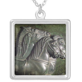 Head of a horse from a quadriga silver plated necklace