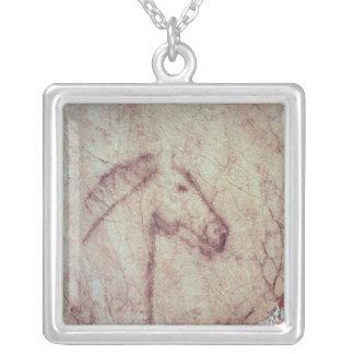 Head of a Horse, from the Cueva de la Pena Square Pendant Necklace