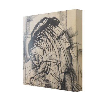 Head of a King Abstract Square Canvas Print