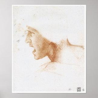 Head of a Man Shouting, Leonardo da Vinci Poster