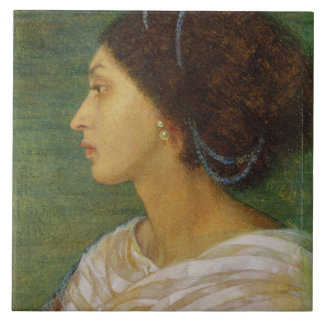 Head of a Mulatto Woman, 1861 (oil on paper laid o Large Square Tile