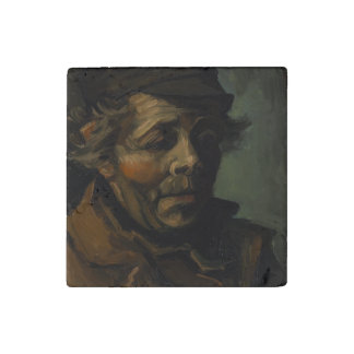 Head of a Peasant by Vincent Van Gogh Stone Magnet