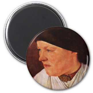 Head Of A Peasant Girl By Leibl Wilhelm Refrigerator Magnet