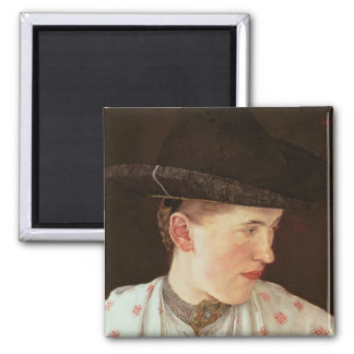 Head of a Peasant Girl, c.1880 2 Inch Square Magnet