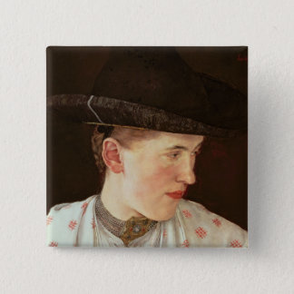 Head of a Peasant Girl, c.1880 Pinback Button