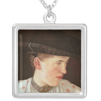 Head of a Peasant Girl, c.1880 Silver Plated Necklace