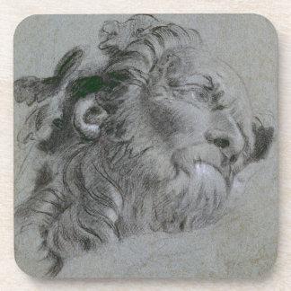 Head of a River-God, c.1751 (black chalk heightene Coaster
