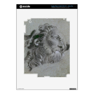 Head of a River-God, c.1751 (black chalk heightene Decals For iPad 3