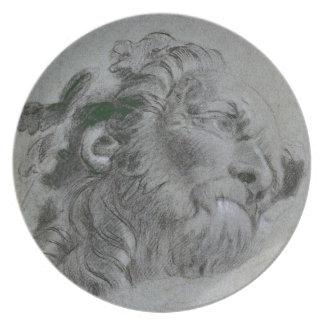 Head of a River-God, c.1751 (black chalk heightene Dinner Plate