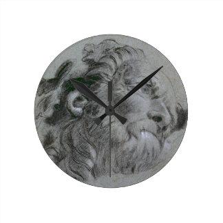Head of a River-God, c.1751 (black chalk heightene Round Clock