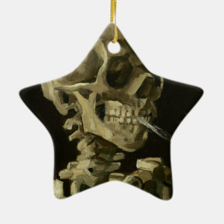 Head of a skeleton Double-Sided star ceramic christmas ornament