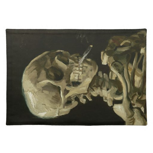 Head of a skeleton with a burning cigarette cloth place mat