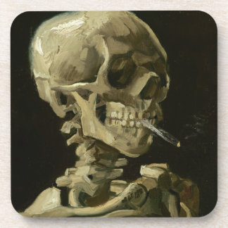Head of a skeleton with a burning cigarette coaster