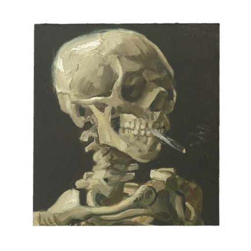 Head of a skeleton with a burning cigarette memo pads