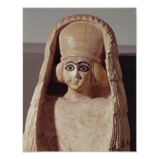 Head of a statue of Ishtar, wearing a Poster