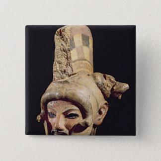 Head of a warrior wearing a helmet pinback button