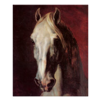 HEAD OF A WHITE HORSE THEODORE GERICAULT art Poster