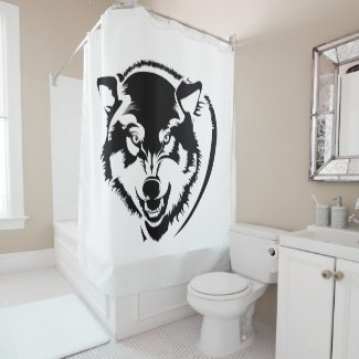 Head of a Wolf Shower Curtain