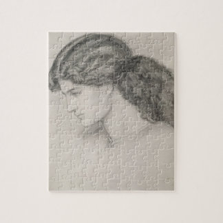 Head of a Woman, 1861 (pencil on paper) Jigsaw Puzzle