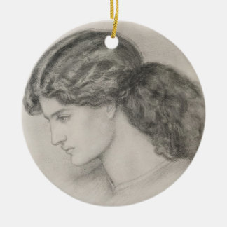 Head of a Woman, 1861 (pencil on paper) Christmas Ornament