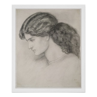 Head of a Woman, 1861 (pencil on paper) Poster
