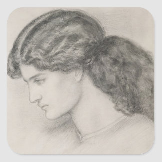 Head of a Woman, 1861 (pencil on paper) Square Sticker
