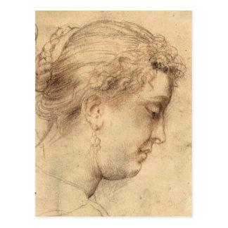 Head of a woman by Paul Rubens Postcard