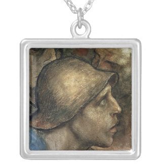 Head of a Worker Silver Plated Necklace