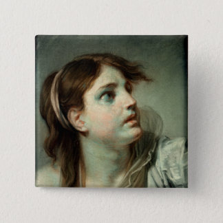 Head of a Young Girl Button