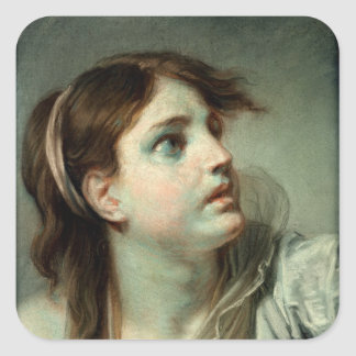 Head of a Young Girl Square Sticker