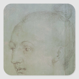 Head of a Young Woman Square Sticker
