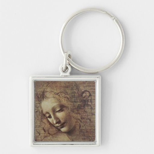 Head of a Young Woman with Tousled Hair or, Leda Silver-Colored Square Keychain