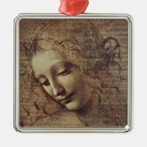 Head of a Young Woman with Tousled Hair or, Leda Square Metal Christmas Ornament
